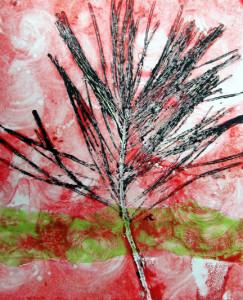 red pine landscape