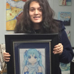 student with drawing